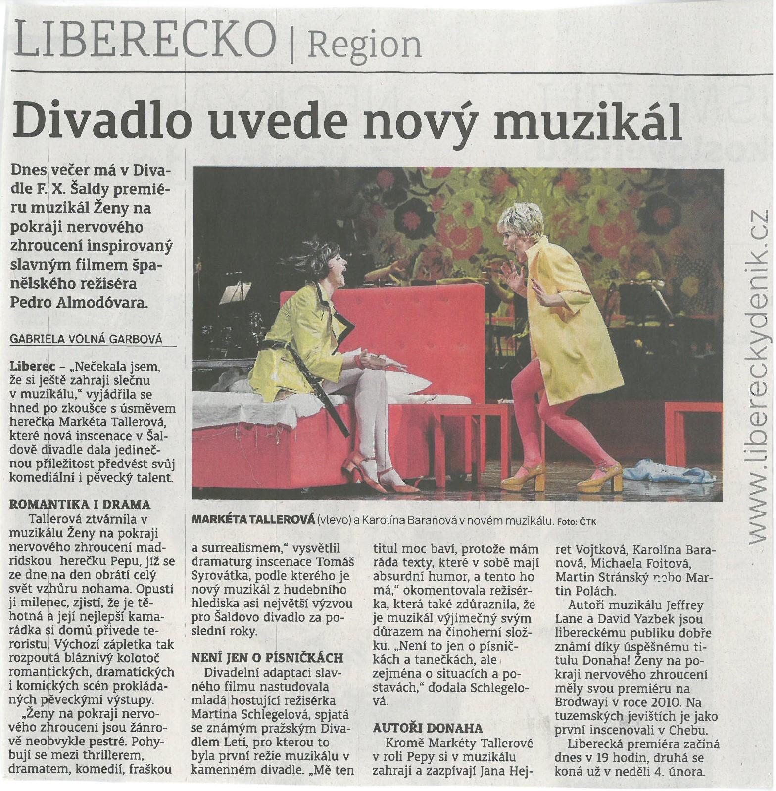 62bd4285bfa Napsali o nás - DIVADLO F. X. ŠALDY LIBEREC